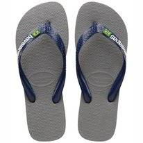 Tongs Havaianas Unisex Brasil Logo Steel Grey Navy Blue