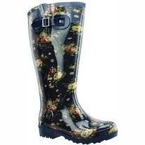 Regenlaars Wide Wellies Flowers Blauw Kuitmaat XL
