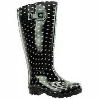 Regenlaars Wide Wellies Zwart Wit Polka Dots Kuitmaat L