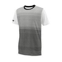 Tennisshirt Wilson Boys Team Striped Crew Schwarz Weiß Kinder