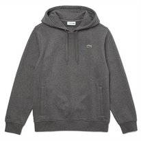 Hoodie Lacoste Men SH1527 Hooded Fleece Flamed Grey / Dark Grey