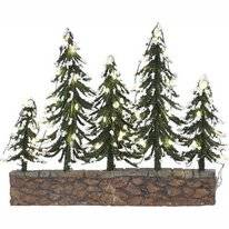 Luville Snowy Trees On Stone Wall With Warm White Light Battery Operated