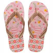 Tongs Havaianas Kids Flores Crystal Rose Rose Gold Metallic