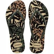 Tongs Havaianas Women Slim Animals Grey Green Olive