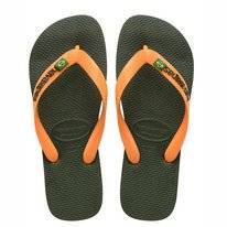 Tongs Havaianas Unisex Brasil Logo Green Olive Vibrant Orange