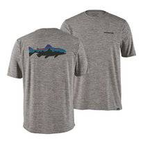 T-Shirt Patagonia Men Cap Cool Daily Graphic Shirt Fitz Roy Trout Feather Grey