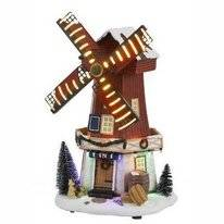 Luville Windmill Christmas Scenery Barrel And Hay Battery Operated
