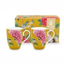 Mug Pip Studio Blushing Birds Yellow 350 ml (Set of 2)