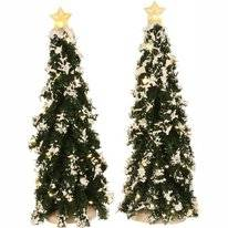 Luville Snowy Conifer With Lights Battery Operated (2 Pieces)