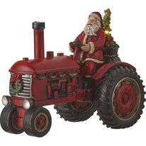 Luville Santa On Tractor Red Battery Operated