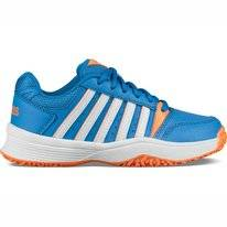 Tennisschuh K Swiss Court Smash Omni Brilliant Blau Weiß Neon Kinder