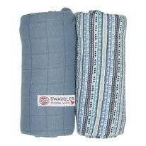 Multidoek Lodger Swaddler Print Solid Dusty Turqouise Stripe (2-Delig)