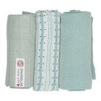 Multidoek Lodger Swaddler Empire Stripe Dusty Turquoise (3-Delig)