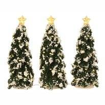 Luville Snowy Conifer With Lights Battery Operated (3 Pieces)