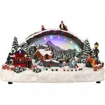Luville Scenery Snow Fun Ice Rink With Bridge Battery Operated