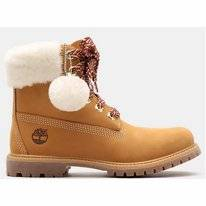 Timberland Women 6 Inch Premium Shearling Collar Wheat Nubuck