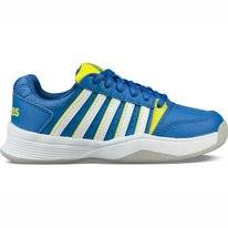 Tennisschuh K Swiss Court Smash Carpet Strong Blue Neon Citron White Kinder