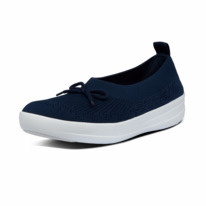FitFlop Uberknit™ Slip-On Ballerina With Bow Midnight Navy