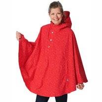 Poncho Happy Rainy Days Poncho Cape Rachel Dot Red Off White