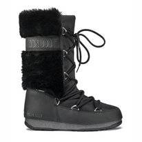 Moon Boot Women Monaco Hi Fur WP Black
