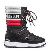 Moon Boot Junior Quilted WP Black Red Silver Kinder