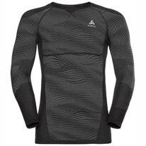 Ondershirt Odlo Men Suw Top Crew Neck L/S Performance Blackcomb Black Odlo Concrete Grey Silver