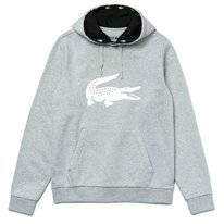 Hoodie Lacoste Men SH8687 Silver Chine Black-White