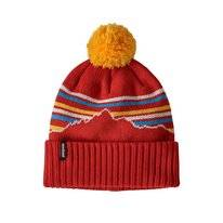 Muts Patagonia Powder Town Beanie Fitz Roy Retro Stripe Knit Hot Ember