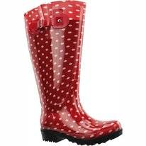 Regenlaars Wide Wellies Rood Wit Polka Dots Kuitmaat XXL