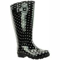 Regenlaars Wide Wellies Zwart Wit Polka Dots Kuitmaat XXL