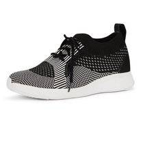 FitFlop Marble Knit Slip-On Sneakers Black White