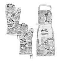 Combi Set DDDDD Italian Food White Apron Oven Glove (Cotton)