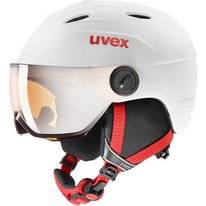 Skihelm Uvex Junior Visor Pro White Red Mat
