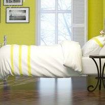 Parure de Lit Italian Home Collection Deauville Blanc Citron Jaune Coton