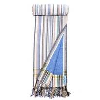 Kikoy Pure Kenya Towel Stripes Blue Gray Brown (Badstof)