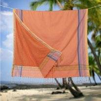 Kikoy Pure Kenya Towel Soft Orange Multi (Badstof)