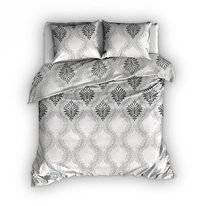 Parure de Lit Satin D'or Pushkin Gris-Blanc Satin