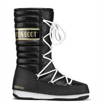 Moon Boot Quilted Black Gold