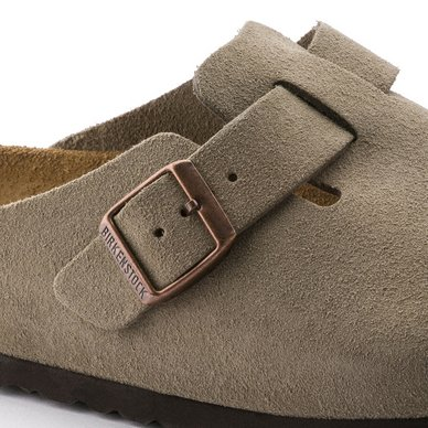 Klomp Birkenstock Unisex Boston SFB Taupe Regular Suede Leather