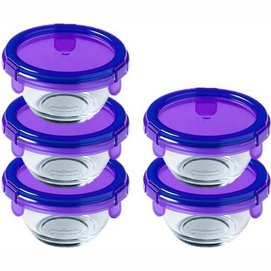Food Container Pyrex My First Pyrex Round Transparent Purple 0.2 L (5 pc)