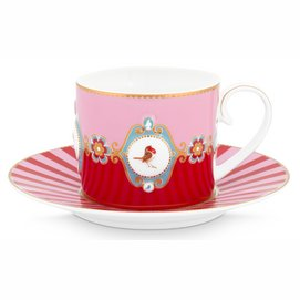Koffiekop Pip Studio Love Birds Red Pink 200 ml (Set van 6)