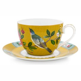 Koffiekop Pip Studio Blushing Birds Yellow 280 ml (Set van 6)