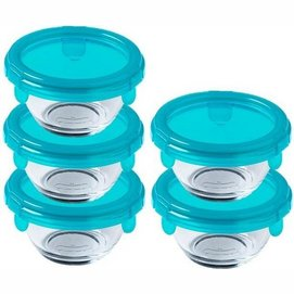 Food Container Pyrex My First Pyrex Round Transparent Blue 0.2 L (5 pc)