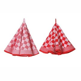 Theedoek Elias Pompdoek Round Red (set van 2)