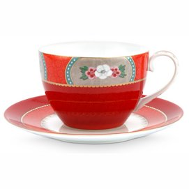 Koffiekop Pip Studio Blushing Birds Red 280 ml (Set van 6)