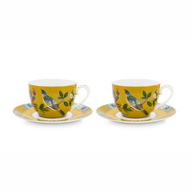 Koffiekop Pip Studio Blushing Birds Yellow 280 ml (Set van 2)