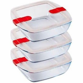 Oven Dish Pyrex Cook & Heat Square Transparent Red 1 L (3 pc)